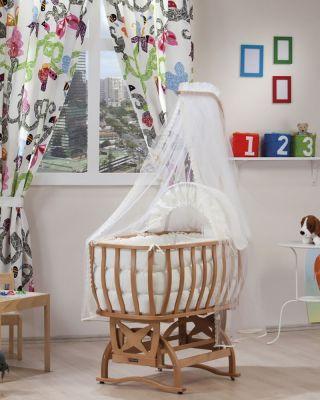 Комплект бебешко легло-люлка с балдахин и спален комплект - натурално дърво | Tahterevalli