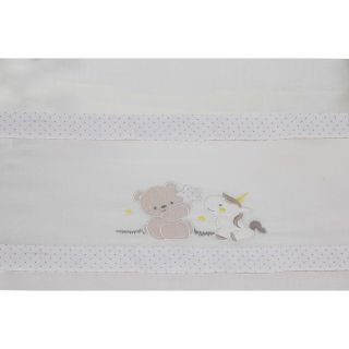 Interbaby бебешки спален комплект, 40х80см, Мече&Еднорог, беж