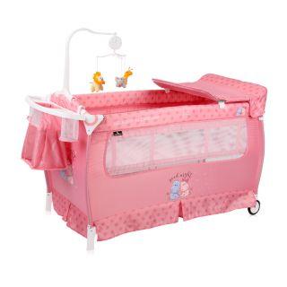 Lorelli Бебешка кошара с аксесоари, 2 нива, SLEEP 'N' DREAM Plus Pink HIPPO