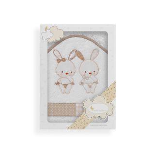 Interbaby бебешка хавлия Two little rabbits,100x100см