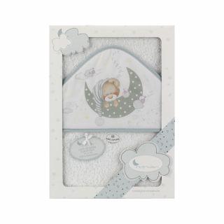 Interbaby бебешка хавлия Спящо мече, розов 100х100см