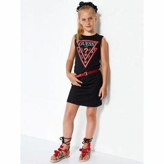 Guess памучна детска рокля с лого Guess