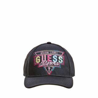 Guess детска черна шапка с козирка и надпис Guess