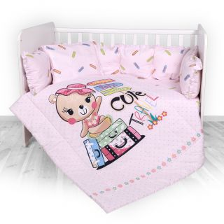 Lorelli Детски спален комплект 4 части, Лили, 60х120см, розово момиче