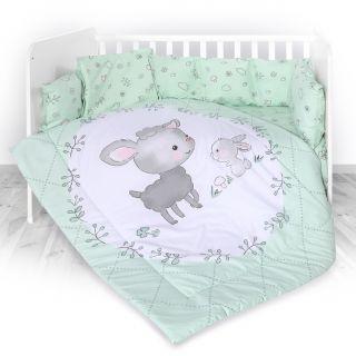 Lorelli Детски спален комплект 4 части, Лили, 60х120см, зелен