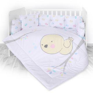 Lorelli Детски спален комплект 4 части, Лили, 60х120см, Птиче