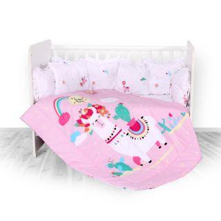 Lorelli Детски спален комплект 4 части, Лили, 60х120см, розов