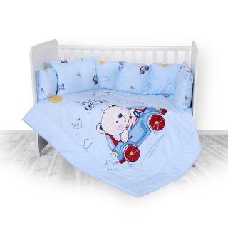 Lorelli Детски спален комплект 4 части, Лили, 60х120см, син