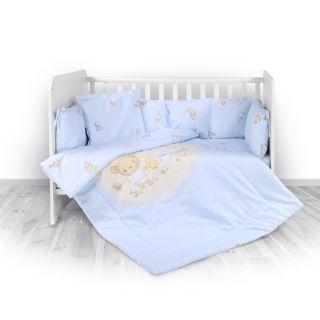 Lorelli Детски спален комплект 4 части, Лили, 60х120см, синьо