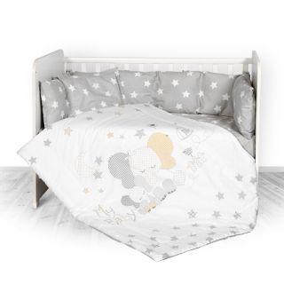 Lorelli Детски спален комплект 4 части, Лили, 60х120см, сиво Слонче