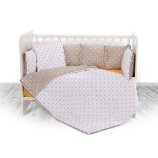 Lorelli Детски двулицев спален комплект 4 части, Лили, 60х120см, бежови корони