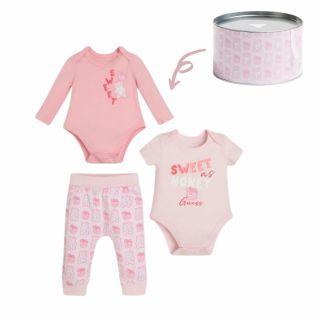 Guess Бебешки комплект 2бр. боди и панталон Bear за момиче в подаръчна кутия