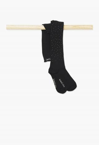 Boboli детски чорапогащник с камъни Черен