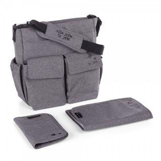 JANE Чанта за бебешка количка с подложка за преповиване МАМА BAG , Jet Black