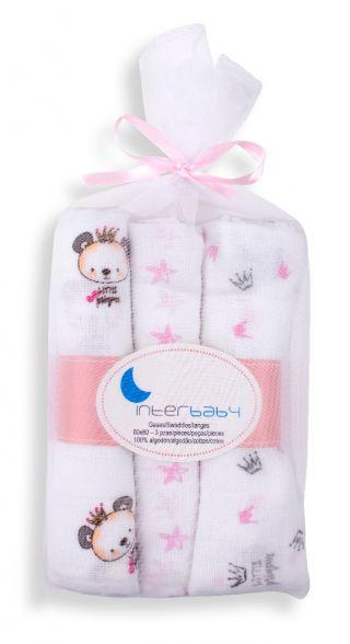 Interbaby бебешки муселинови пелени 3бр/оп. Розов