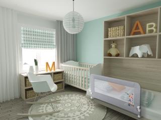 Interbaby преграда за детско легло Indian синя (150x70см)