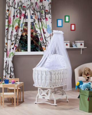 Комплект  бебешко легло-люлка с балдахин и спален комплект - бял | Tahterevalli