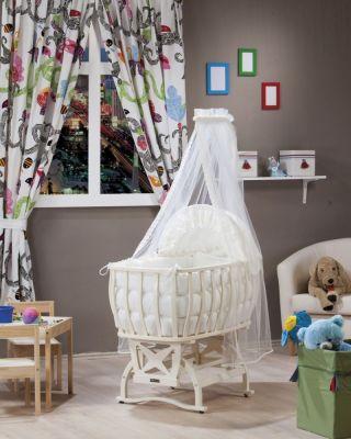 Комплект бебешко легло-люлка с балдахин и спален комплект - крем | Tahterevalli