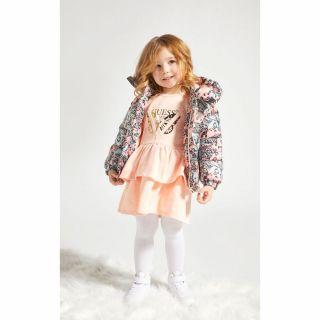 Guess Памучна бебешка рокля с харбали и гащи Butterfly