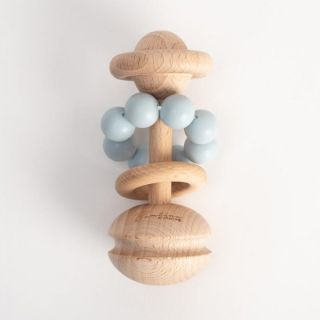 Bambino Бебешка дрънкалка от дърво и силикон 3м+ - синя