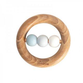 Widdop & Co Bambino Бебешка гризалка от силикон и дърво 3м+ - синя