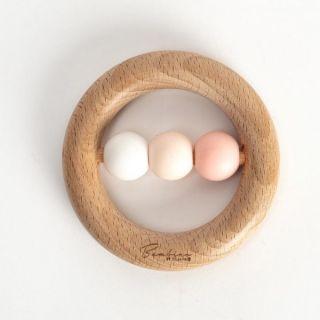 Widdop & Co Bambino Бебешка гризалка от силикон и дърво 3м+ - розова