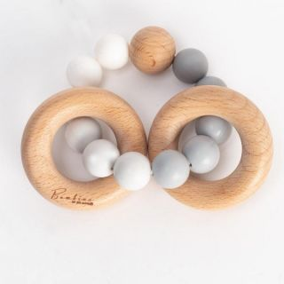 Widdop & Co Бебешка гризалка от силикон и дърво Ombre 3м+ - сива Bambino