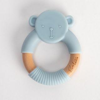 Widdop & Co Bambino Бебешка гризалка от силикон и дърво Teddy 3м+ синя