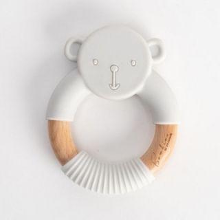 Widdop & Co Bambino Бебешка гризалка от силикон и дърво Teddy 3м+ сива