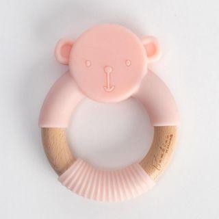 Widdop & Co Bambino Бебешка гризалка от силикон и дърво Teddy 3м+ розова
