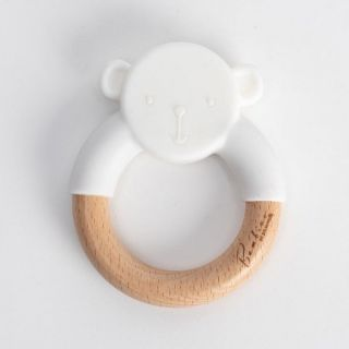 Widdop & Co Bambino Бебешка гризалка от силикон и дърво Teddy 3м+ - бяла