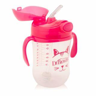 Чаша Dr.Brown's  със сламка 270мл 6м+ , розова