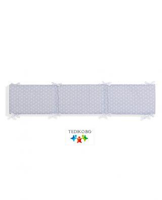Interbaby двулицев обиколник за детско креватче Silver Stars (37/180/3см)