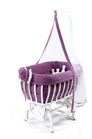 Бебешко легло-люлка и спален комлект - лилав | Tahterevalli