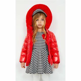 Guess детска рокля Жакард със сърца Sustainable