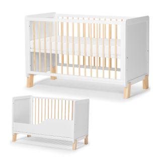 Трансформиращо се дървено креватче KinderKraft NICO с матрак, Бяло