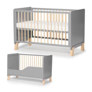 Трансформиращо се дървено креватче KinderKraft NICO с матрак, Сиво