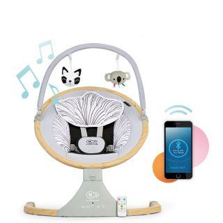 Електрическа бебешка люлка/шезлонг с Bluetooth 2в1, LUMI, Kinderkraft Дървен