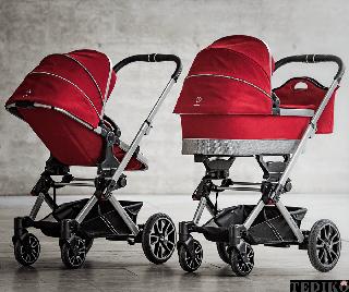Бебешка количка Mercedes Benz в ярко червен цвят