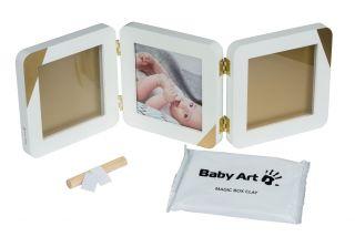 BABY ART Отпечатък за ръчичка и краче -  квадратен, бяла + златисти ъгли и паспарту