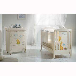 Baby Expert Бебешко креватче + Спален комплект 4 части Allegria Giraffina Крем