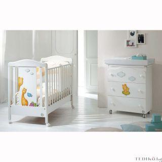 Baby Expert Бебешко креватче Allegria Giraffina Бял