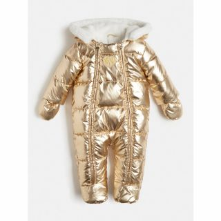 Guess Бебешки термокосмонавт с качулка за момиче Gold