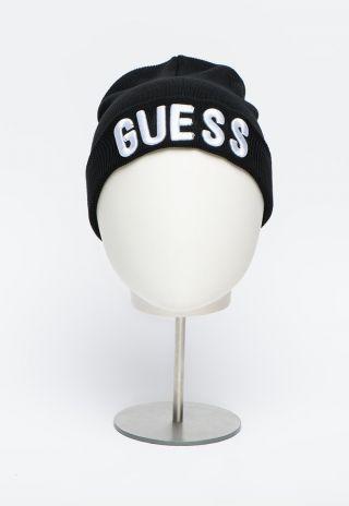 Guess детска черна шапка с надпис