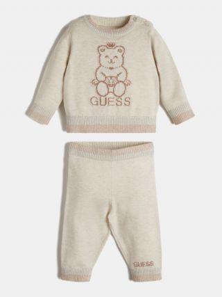 Guess Бебешки плетен комплект за момиче Bear