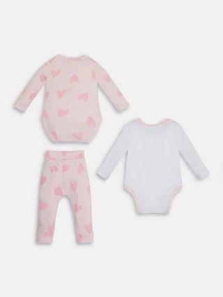Guess Подаръчен бебешки комплект за момиче 3 части, Mom & Dad