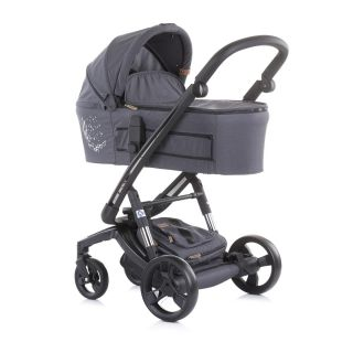 Детска количка Електра 3в1 Черна рама Сребро Чиполино