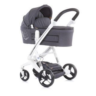 Детска количка Чиполино Електра 3в1 Бяла Рама Сребро