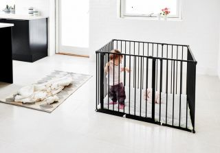Babydan Детска кошара с килимче Baby Pen бяла/черна