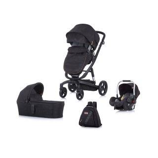 Детска количка Чиполино Електра 3в1 Черна рама Черна